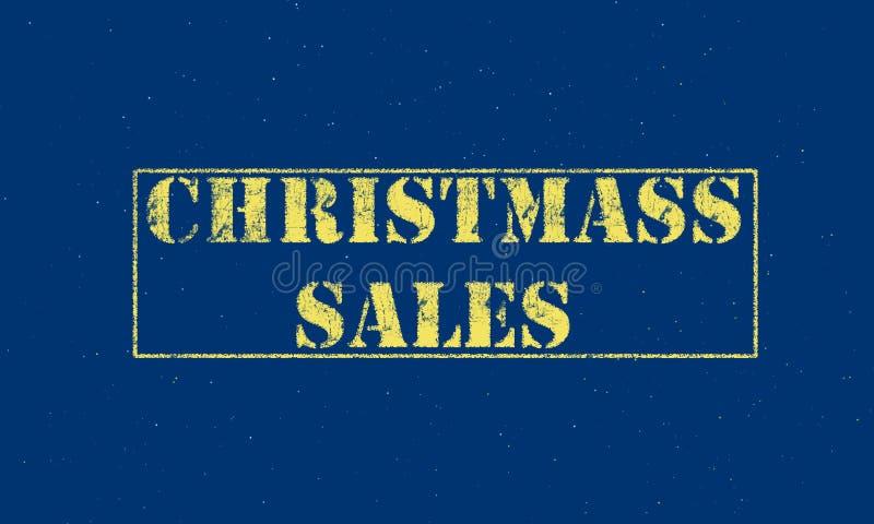 letras brancas das vendas do Natal do carimbo de borracha em um fundo azul foto de stock royalty free