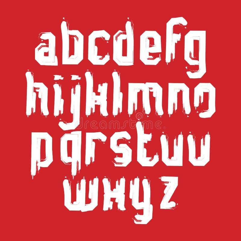 Letras caligráficas Lowercase tiradas com escova da tinta, Sans Serif ilustração do vetor