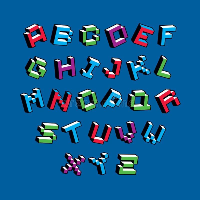 Letras cibernéticas del alfabeto 3d, typescr digital del vector del arte del pixel stock de ilustración