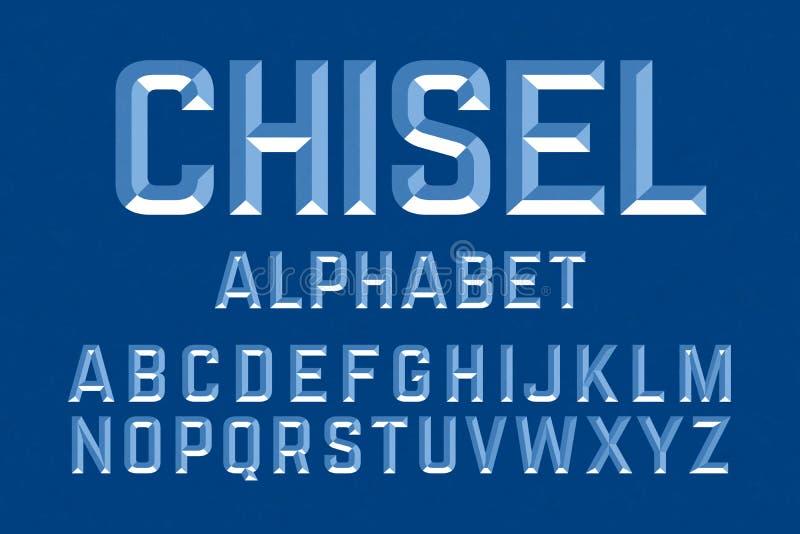 Letras cinzeladas do alfabeto ilustração do vetor
