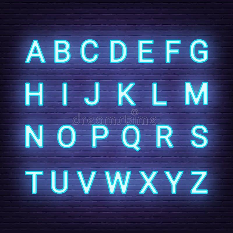 Letras claras de néon ilustração stock