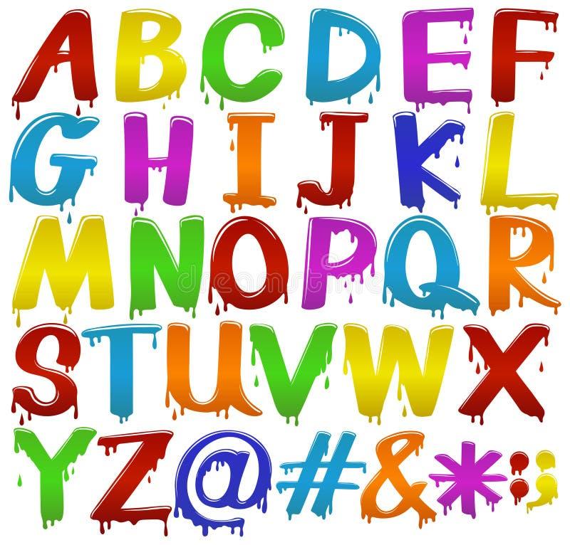 Letras coloridas arco-íris do alfabeto ilustração royalty free