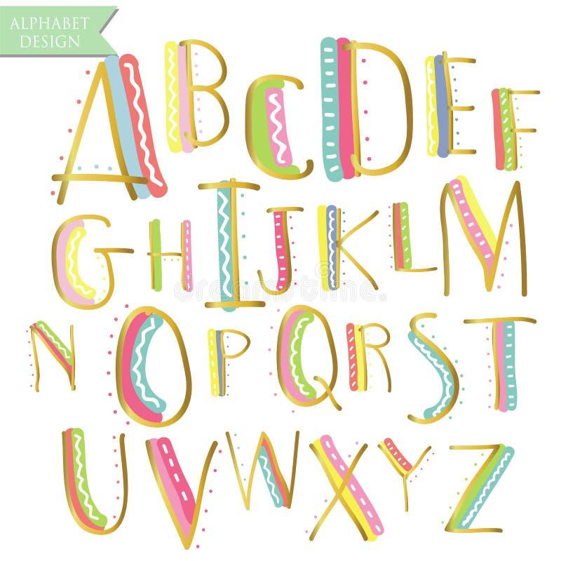 Letras coloridas azuis cor-de-rosa amarelas do alfabeto da tinta do ouro verde Mão d ilustração stock
