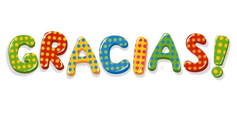 Letras coloridas de Gracias de la palabra española ilustración del vector