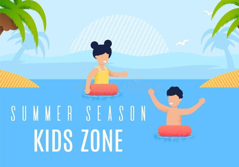 Letras coloridas de la zona de los niños de la estación de verano del cartel ilustración del vector