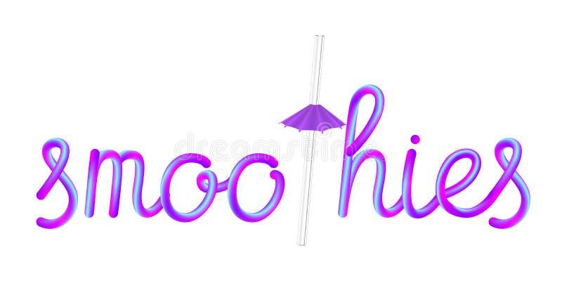 Letras coloridas de los Smoothies con la paja de beber y el paraguas de cristal transparentes libre illustration