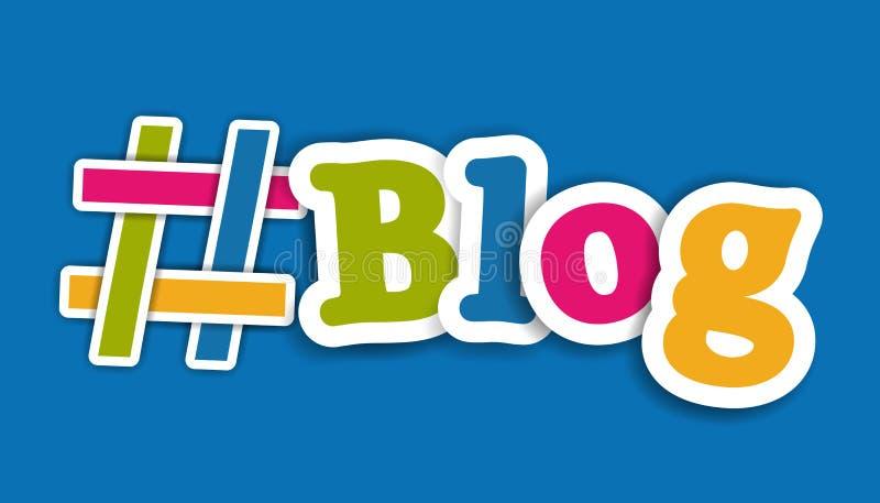 Letras coloridas del icono y del blog de Hashtag - ejemplo del vector - aisladas en fondo azul stock de ilustración