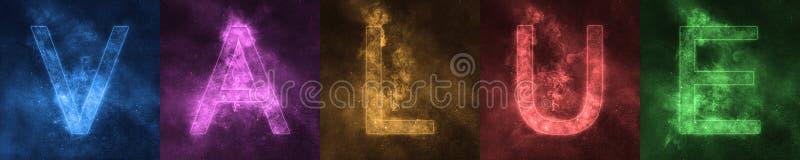 Letras coloridas estilizadas del espacio del VALOR de las letras de la palabra valor libre illustration