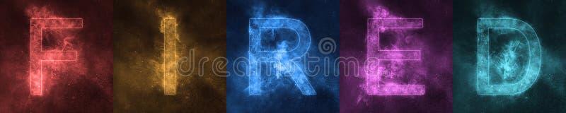 Letras coloridas estilizados ATEADAS FOGO rotulação do espaço da palavra despedido ilustração royalty free