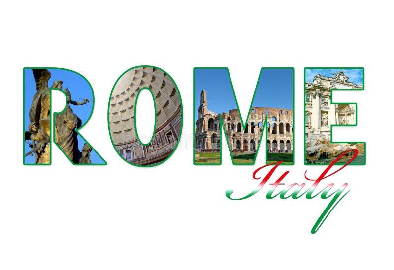 Letras com as fotos da cidade de Roma imagens de stock royalty free
