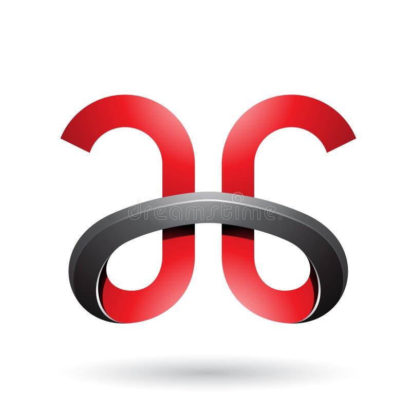 Letras con curvas intrépidas rojas y negras A y G aislados en un fondo blanco stock de ilustración