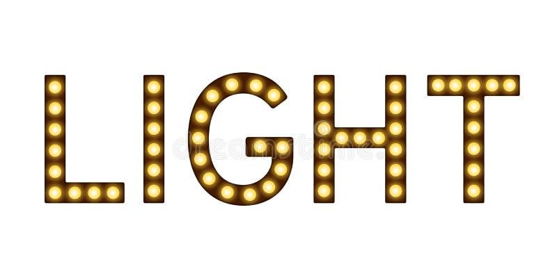 Letras con las lámparas, imitación de las bombillas, luz con las lámparas, muestra que brilla intensamente de la palabra stock de ilustración