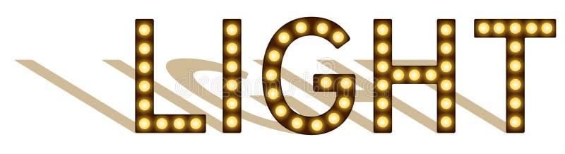 Letras con las lámparas, imitación de las bombillas, luz con las lámparas, muestra que brilla intensamente de la palabra con la s stock de ilustración