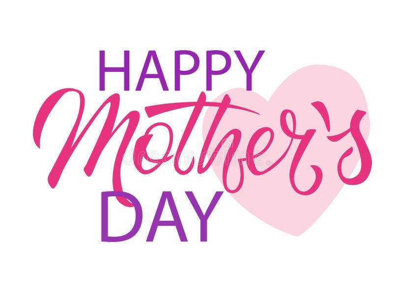 Letras creativas de la mano de Mother's del ?? feliz del d?a ?y coraz?n rosado en el fondo blanco stock de ilustración