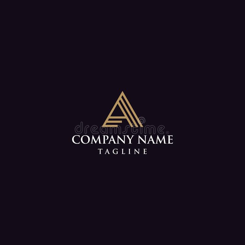 Letras criativas um logotipo dourado ilustração stock