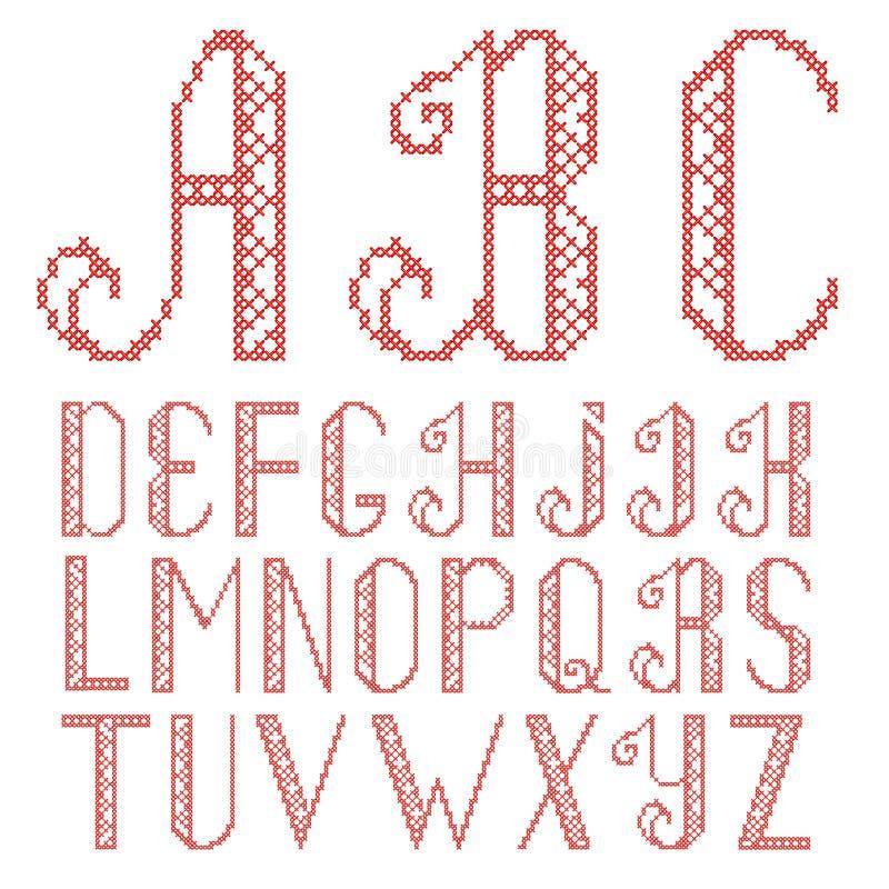 Letras cruzadas de la puntada del vector stock de ilustración