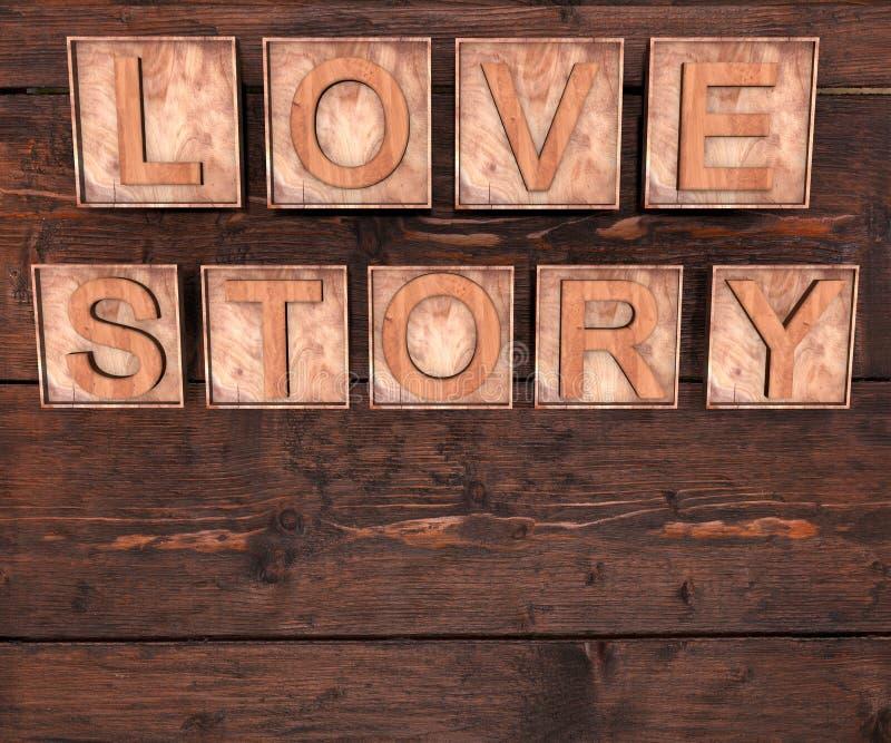letras 3D de madeira que formam a palavra LOVE STORY escrito no fundo de madeira St Valentine' dia de s imagens de stock royalty free