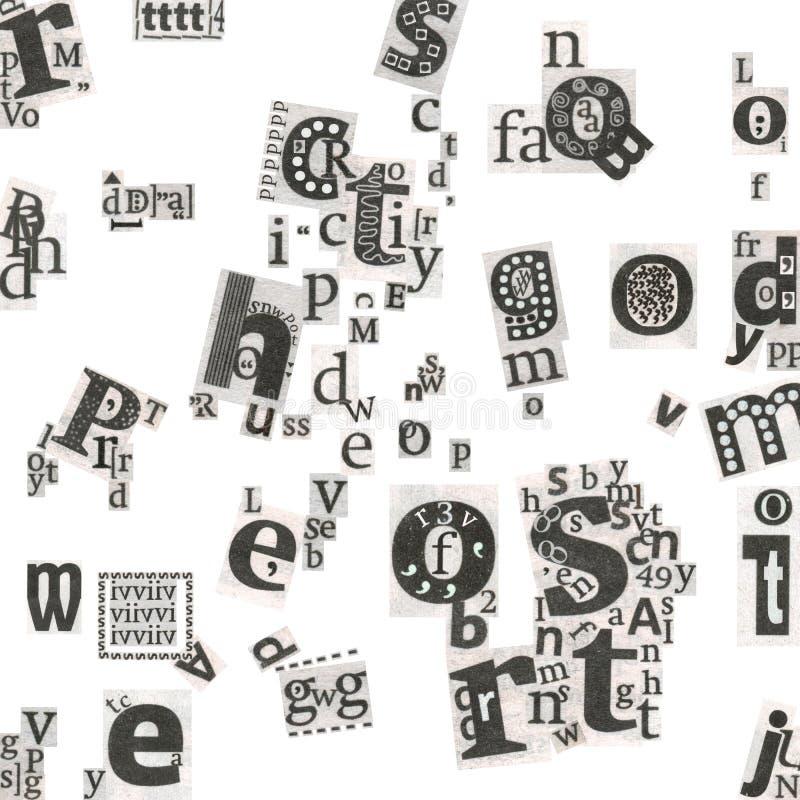 Letras da arte do jornal abstrato ilustração do vetor