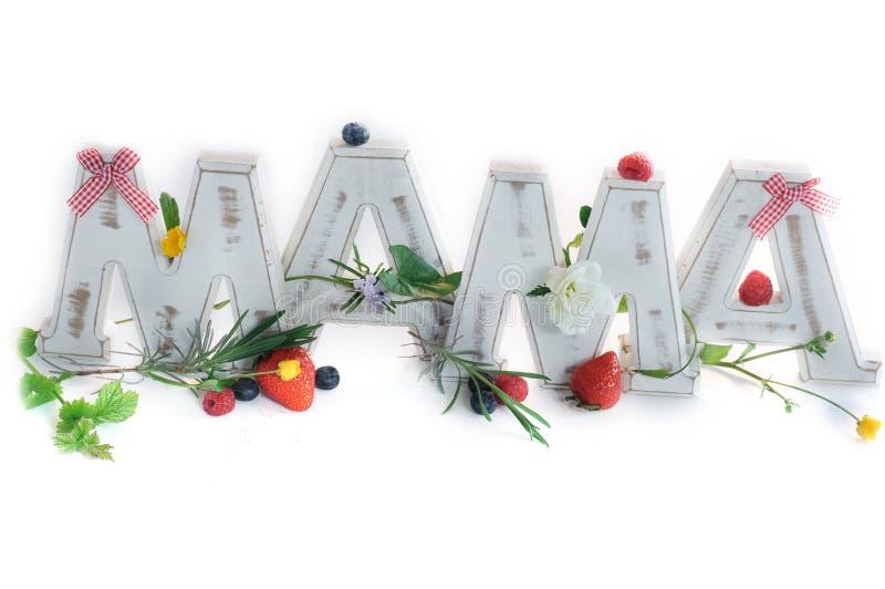Letras da MAMÃE do vintage decoradas com frutos e flores da mola imagens de stock