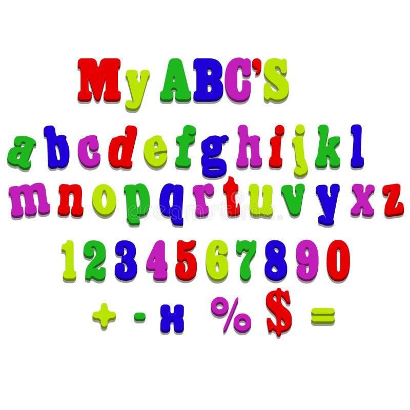 Letras da soletração do alfabeto do ímã do refrigerador do vetor ilustração royalty free