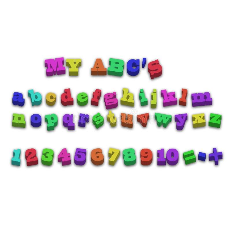 Letras da soletração do alfabeto do ímã do refrigerador do vetor ilustração stock