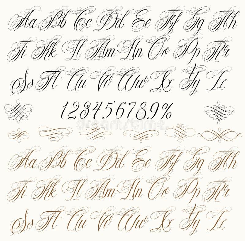 Letras da tatuagem ilustração stock