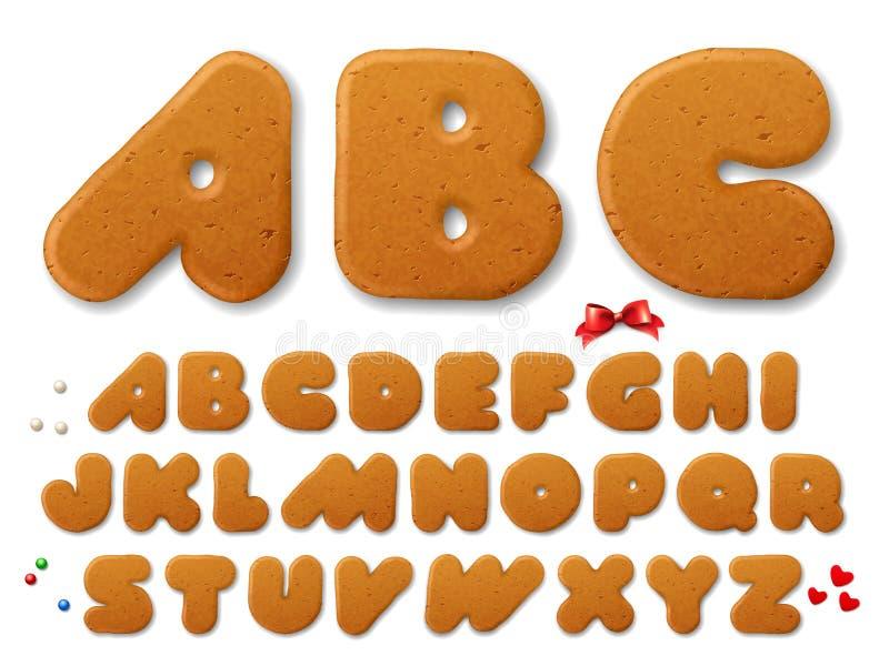 Letras das cookies do pão-de-espécie do Natal ilustração royalty free