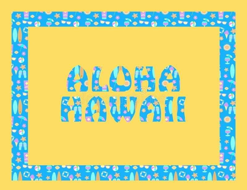 Letras de Aloha Hawaii en backround amarillo stock de ilustración