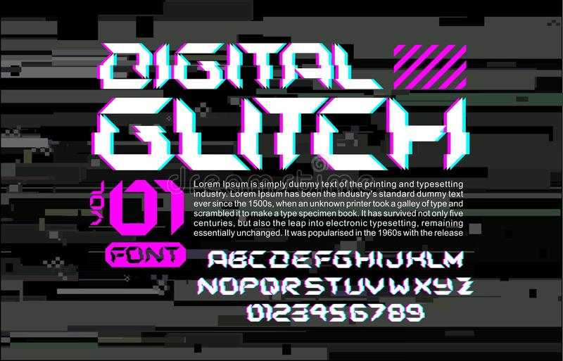 Letras de alta tecnología de la fuente del espacio de la interferencia en la composición digital del diseño del estilo del Cyberp libre illustration