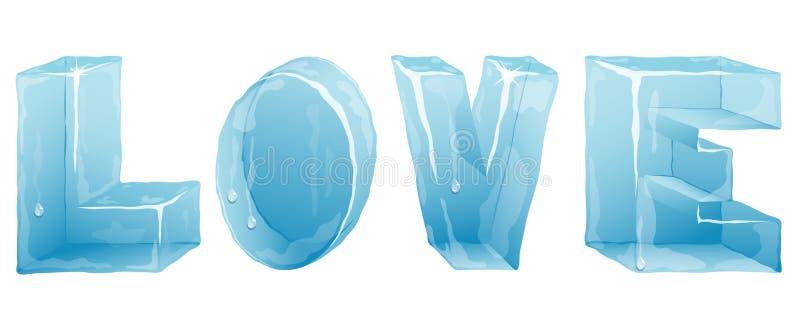 Letras de amor del hielo ilustración del vector