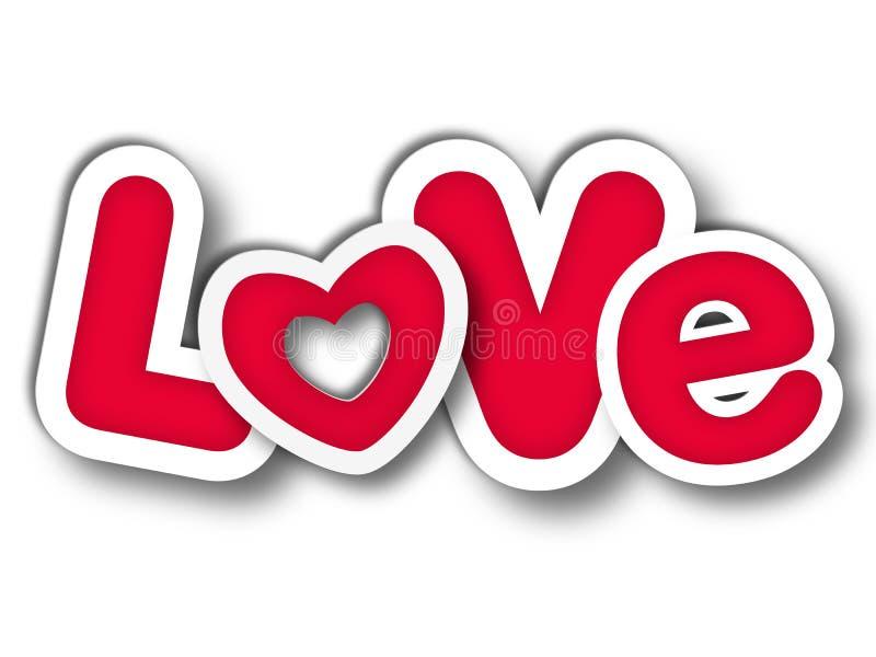Letras de amor no vermelho ilustração stock