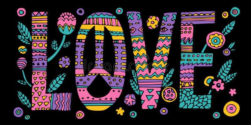 Letras de amor psicodélicas del hippie ilustración del vector