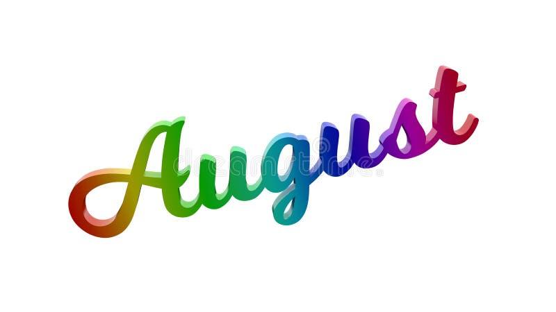 Letras de August Month Calligraphic Text Title 3D coloridas com inclinação do arco-íris do RGB ilustração stock