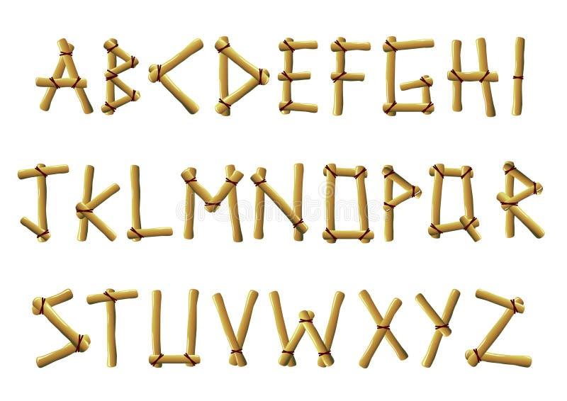 Letras de bambu ilustração stock