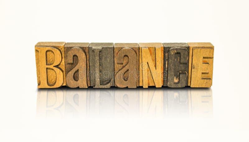 Letras de bloco da palavra do equilíbrio - fundo branco isolado imagem de stock