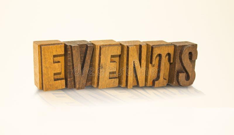 Letras de bloco da palavra dos eventos - fundo branco isolado fotos de stock