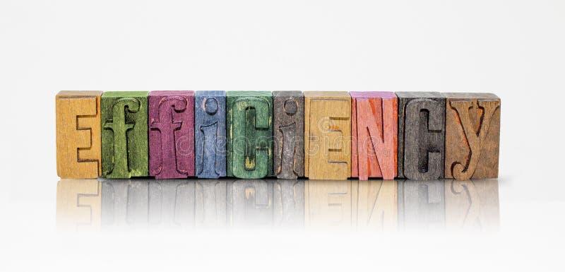 Letras de bloco da palavra da eficiência no fundo branco isolado fotos de stock royalty free