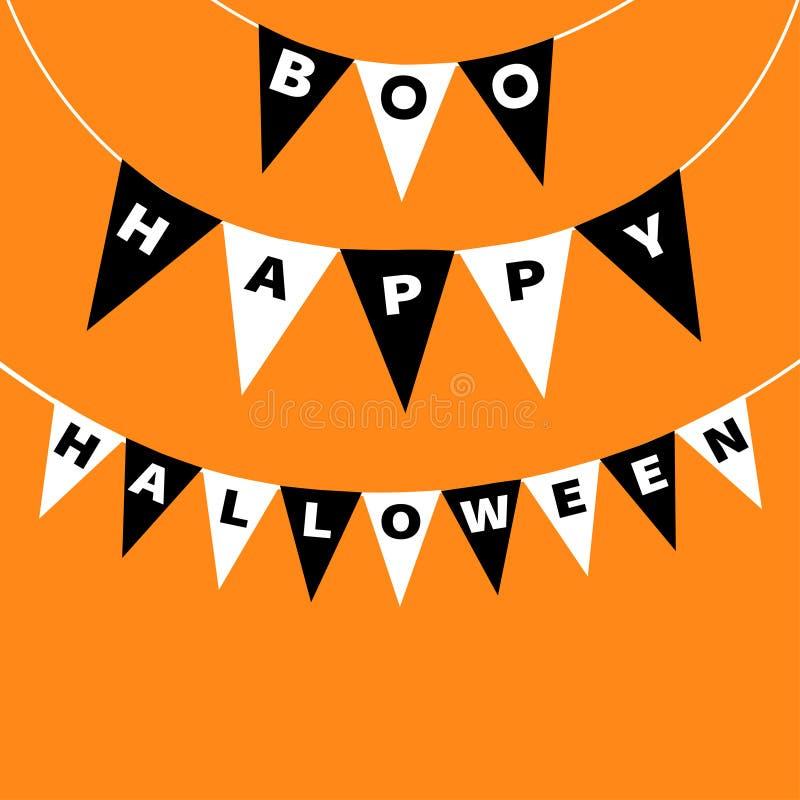 Letras de Boo Happy Halloween do bloco das bandeiras da estamenha Festão da bandeira Elemento da decoração do partido Texto de su ilustração do vetor
