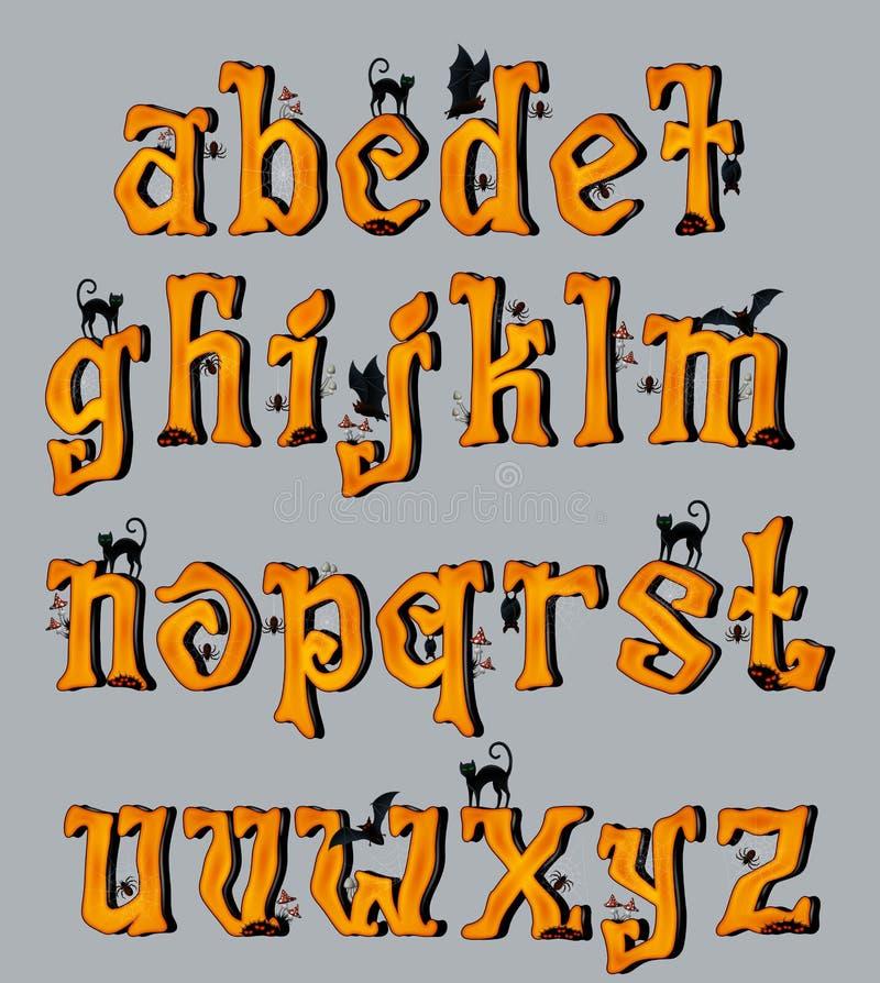 Letras de caixa assustadores da fonte de Dia das Bruxas ilustração royalty free