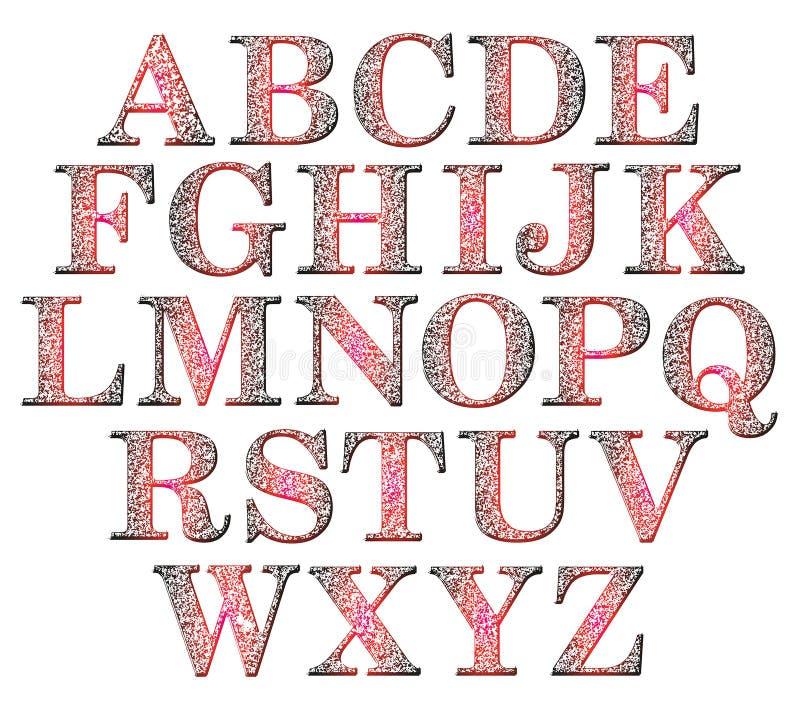 Letras de caixa do grunge do inclinação Alfabeto grosseiro no fundo branco ilustração royalty free