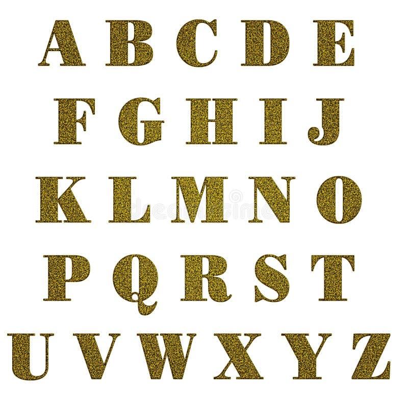 Letras de capital do glitter do ouro, isoladas ilustração do vetor