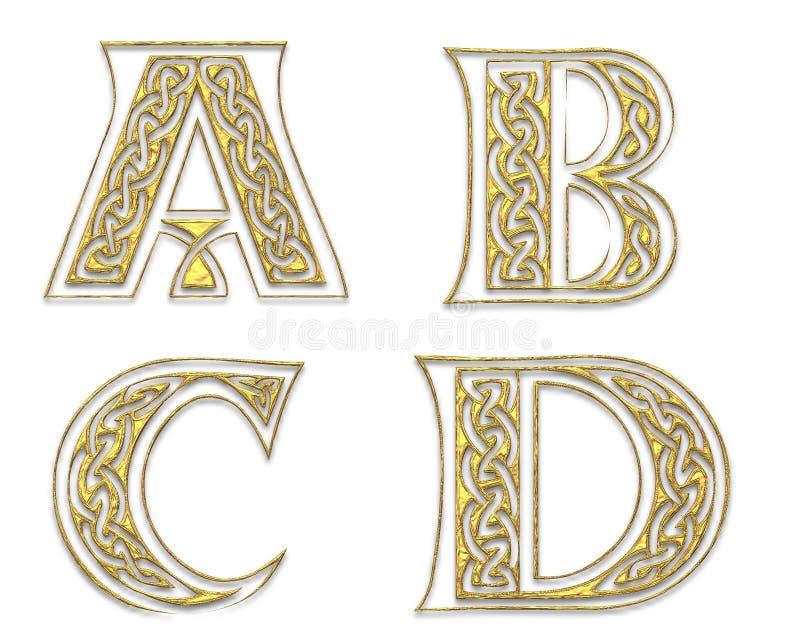 Letras de capital douradas 1 ilustração royalty free