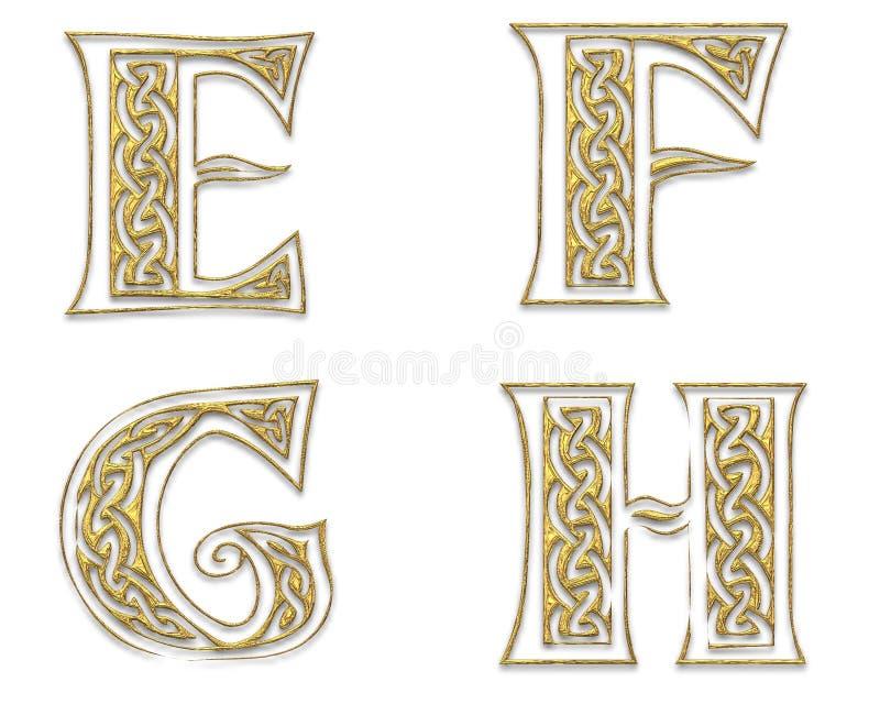 Letras de capital douradas 2 ilustração stock