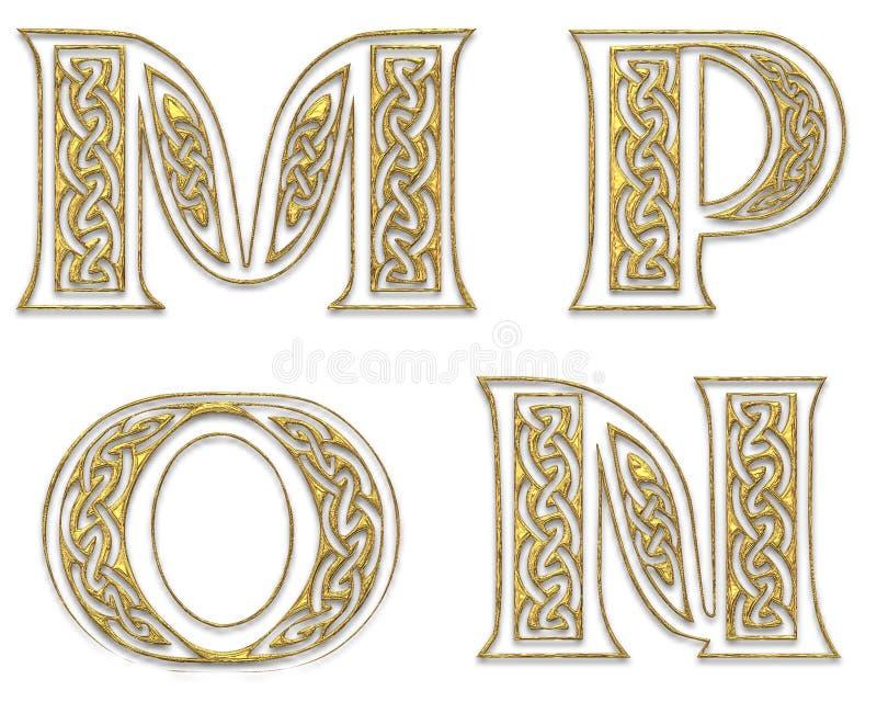 Letras de capital douradas 4 ilustração stock