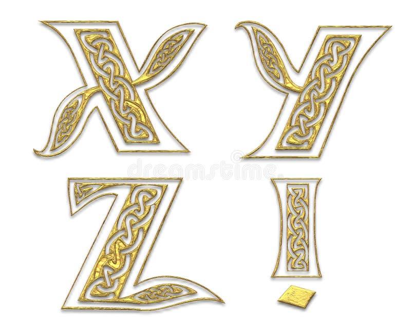 Letras de capital douradas 7 ilustração stock