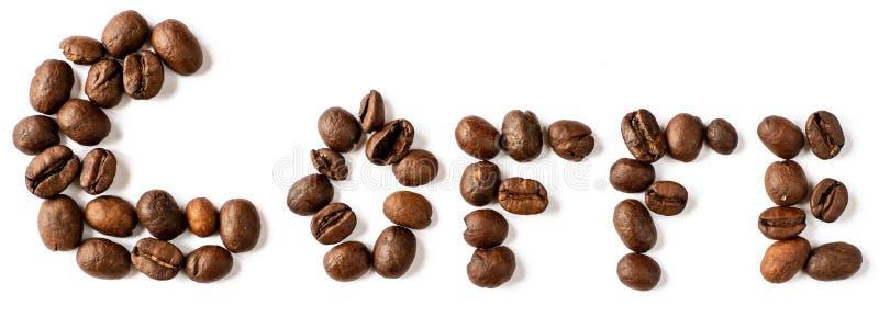 Letras de Coffe hechas de los granos de café aislados en el fondo blanco imagen de archivo