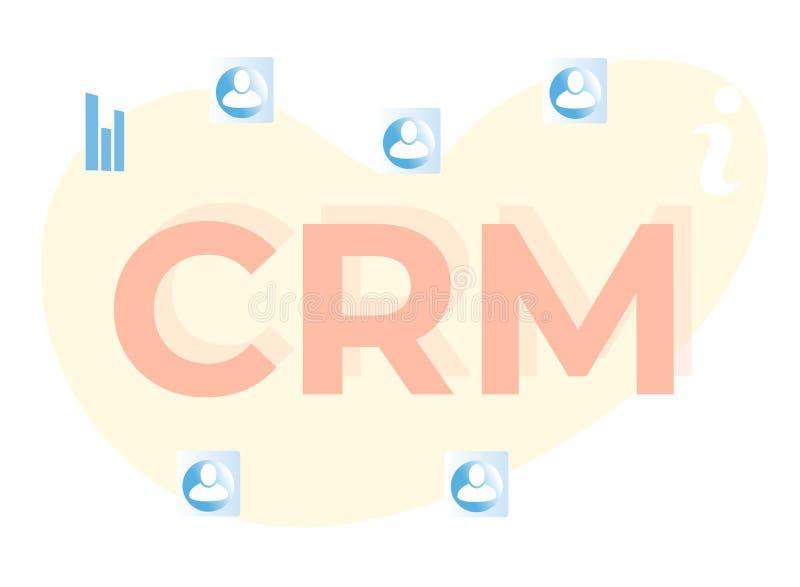 Letras de CRM de la historieta e iconos planos de los clientes libre illustration