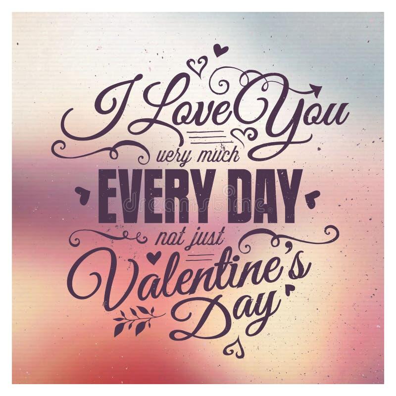 Letras de día de las tarjetas del día de San Valentín stock de ilustración