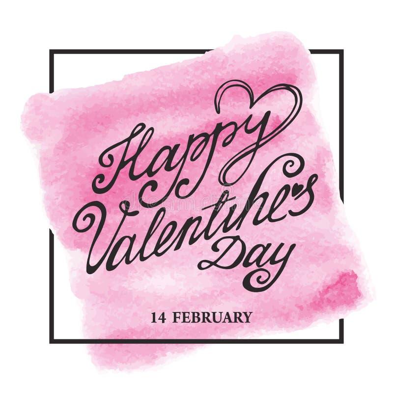 Letras de día de las tarjetas del día de San Valentín, marco Rosa de la acuarela stock de ilustración