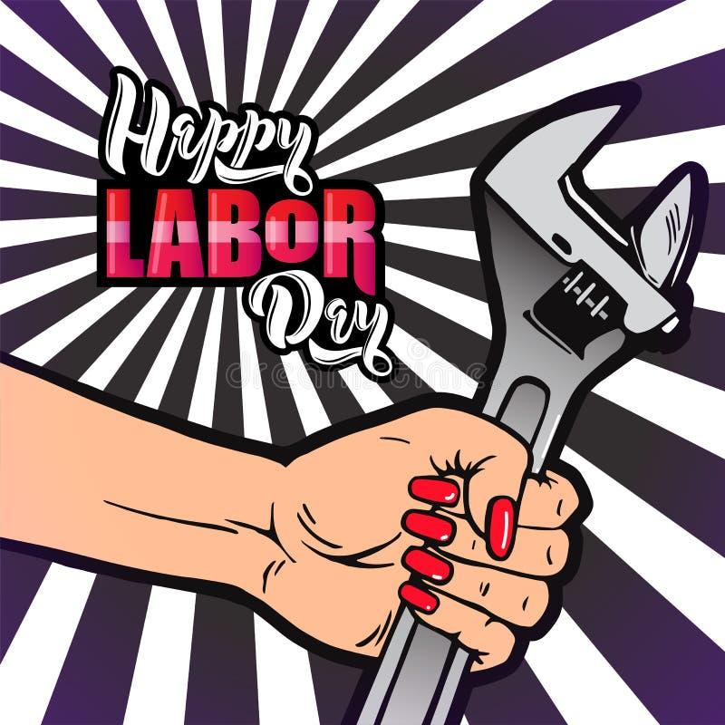 Letras de Día del Trabajo felices La mano femenina de la historieta con la manicura sostiene la llave ajustable libre illustration